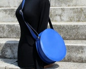 Blue leather bag, cross body round bag, leather crossbody bag, circle bag, FREE SHIPPING