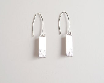 Abstract, chiseled, recycled silver dangle earrings - Brush Earrings