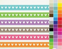 Digital Borders - 46 Heart Ribbons - RainbowClip Art ClipArt  Personal and Commercial Instant Download & Printable - G2280