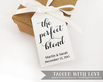 The Perfect Blend - MEDIUM Size - Wedding Favor Tag - Custom Tag - 36 Pieces