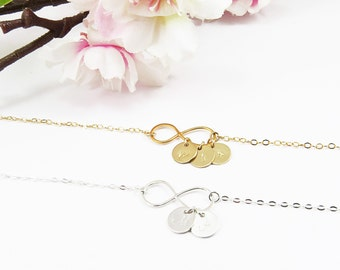 Personalized Infinity Necklace, Customized Gift, Silver Infinity and Initial Necklace, Gold Infinity Initial Necklace, Monogram Disc