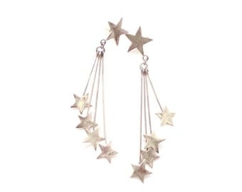 Vintage 1960s Star Earrings, Taxco Mexico Sterling Silver, Pierced, Dangle and Drop Stars, 4.25 Inches, Boho, Hippie, Mobile