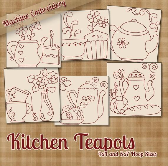 Kitchen Teapots Redwork Machine Embroidery Patterns Designs