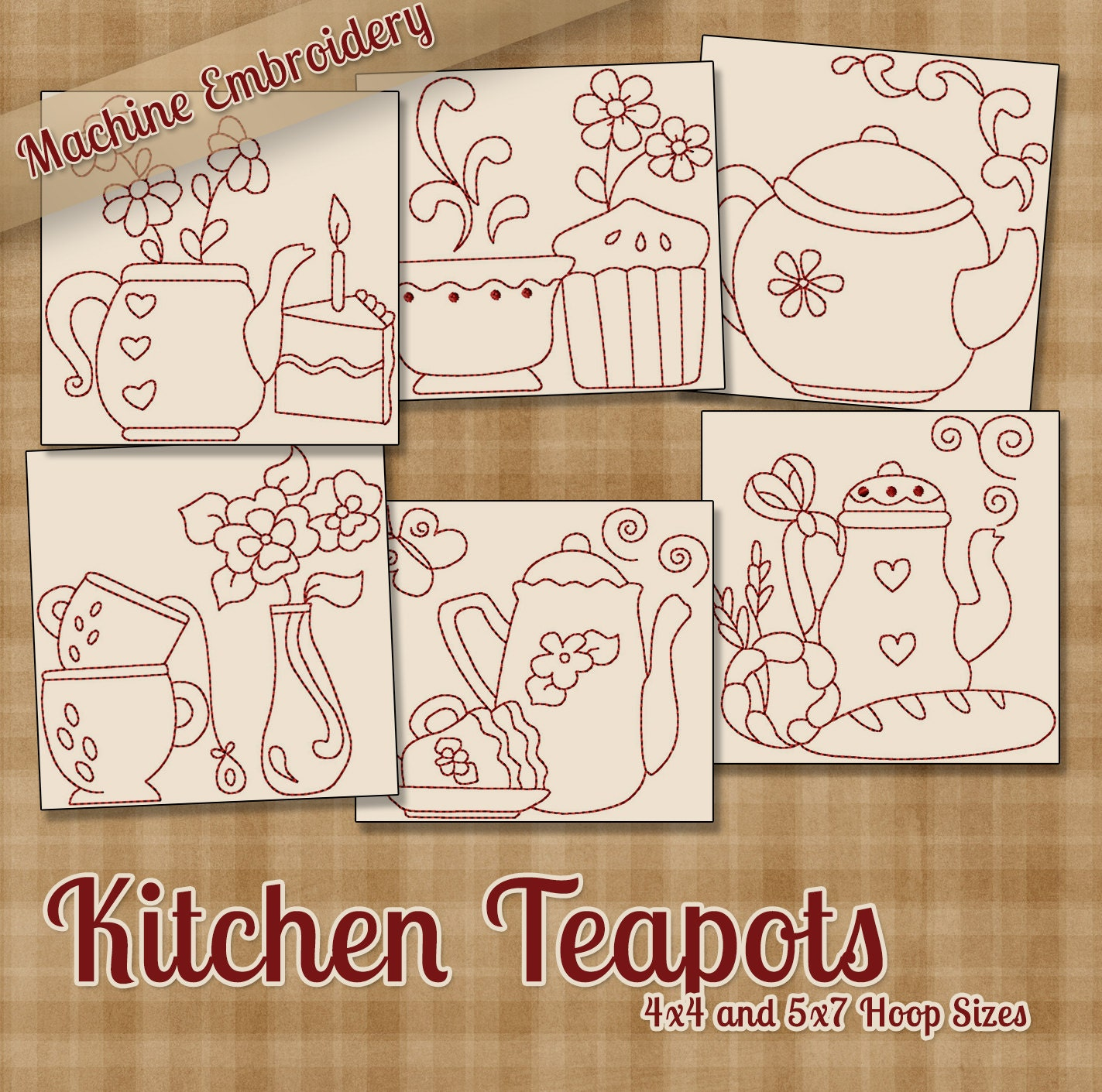 Kitchen Teapots Redwork Machine Embroidery Patterns Designs