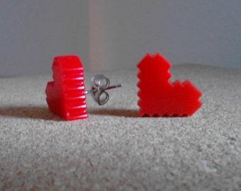 Red 8-Bit Pixel Life Bar Heart Stud Earrings, Laser Cut Acrylic Hypoallergenic Option