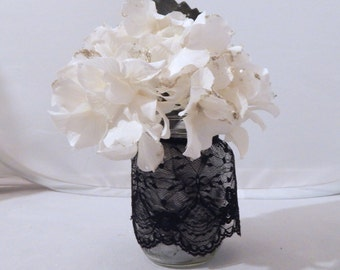 Mason Jar Vase with Black Lace and Artificial Flowers