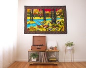 SALE vintage large wall tapestry / velvet fabric textile wall hanging art / large wall decor