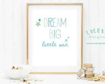 Dream Big Little One Nursery Art, Nursery Wall Art Quote, Nursery Decor, Boys Nursery, Girls Nursery