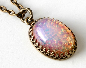 Pink Fire Opal Pendant Necklace Vintage Oval Glass Pink Opal Necklace Gold Chain Gift For Her Lillian Fine Jewelry