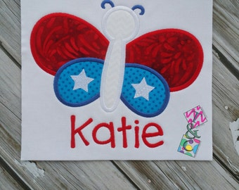 July 4th Shirt - Butterfly - Kids Applique Embroidery - Kids Shirt - Red White and Blue