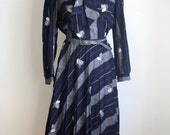70s Secretary Dress / 1970s Blue Dress / Midi Dress / Tea Length / Vintage Blue Dress