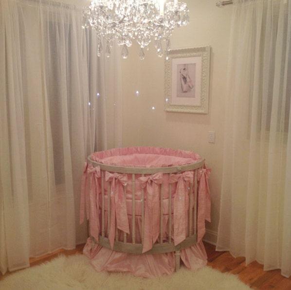 Luxury Silk Round Crib Bedding by SocialBabyBedding on Etsy