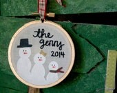 Snow Family Ornament (2 design Options) - Hoop Art Christmas Ornament