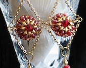 Red Earrings, Beadwork Earrings, Beadwork Jewelry, Southwest Earrings, Iridescent Red Gold Beadwork, Chain, Chandelier Earrings