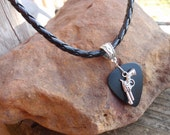 Revolver Pistol Braided Necklace - Southwestern Guitar Pick Jewelry, Tibetan Silver Braid Bail, 12 Custom Colors Size, Western Pistol Chain