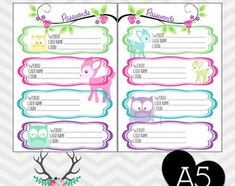 Filofax Printable A5 Password Keeper Tracker PDF Planner Inserts #2 - Owl Deer Pastel Instant Download