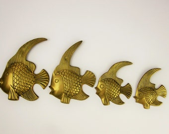 Four Brass Fish for a Wall - Made in India - Decorative - Detailed Brass Fish - Graduated Size Brass Fish - All Brass