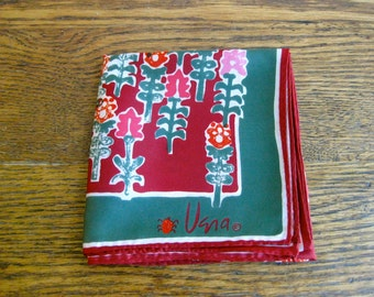 Vintage Vera Neumann Red and Green Scarf