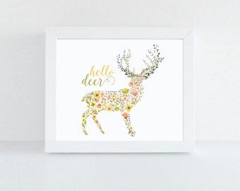 Hello Dear Print, Woodland Nursery Art, Watercolor Art Print, Deer Print, Typographic Print, Nursery Print, Deer Illustration, Flower Art