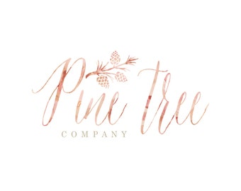 Custom logo -  logo design  - calligraphy logo - watercolor logo - business card - pine tree logo - freshmint paperie