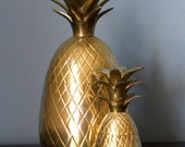 Vintage Brass Pineapple Box, Hollywood Regency Home Decor