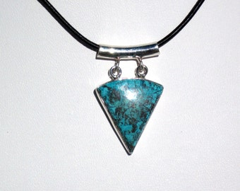 turquoise pendant necklace on leather    leather necklace