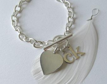 Silver Heart Charm Bracelet - Heart Bracelet - Valentines Day Gift for Her - Personalized Heart Bracelet - Sterling Silver