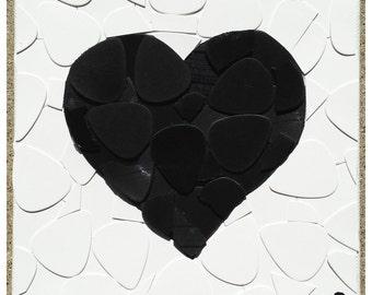 Black and White Heart Guitar Pick Art