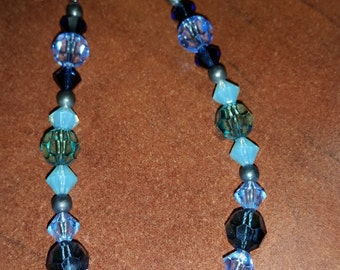Swarovski Crystal Heart Beaded Necklace in Silver
