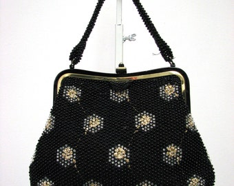 Vintage CORDÉ Bead Purse Handbag made in 1950's Black Clear Beads