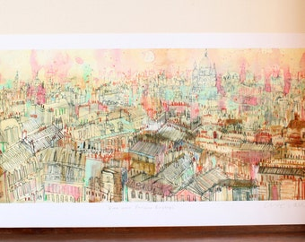 VIEW of PARIS ROOFTOPS, Limited Edition, Mixed Media Painting, Paris Architecture, French Wall Art, Sacre Coeur Paris Print, Clare Caulfield
