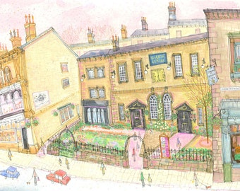 HEBDEN BRIDGE ART, Yorkshire Painting, Heart Gallery Hebden, Signed Limited Edition Giclee Print, Watercolor Painting by Clare Caulfield