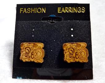 Mayan Glyph Series, Exotic Wood Earrings