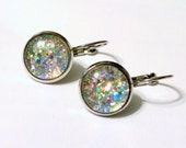 Unicorn Puke, Silver Holographic Glitter Earrings, glitterbomb, sparkly, lever back hinged closure, tarnish resistant