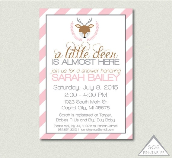 deer baby shower invitation pink deer invitation a little deer is