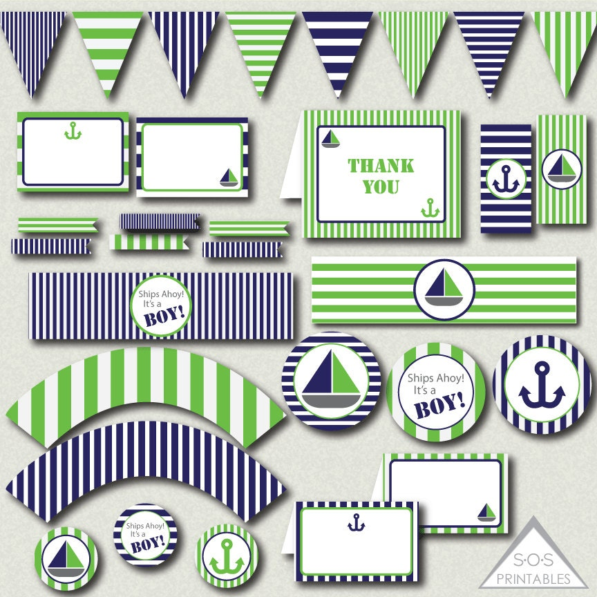 This is a photo of Declarative Nautical Baby Shower Printables