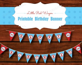 Little Red Wagon Happy Birthday Printable Banner // Little Red Wagon Birthday Banner // Little Red Wagon Printable // Instant Download