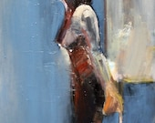 abstract nude - female figure painting - blue print -  fine art Giclee' - FREE US SHIPPING