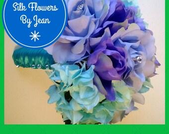 Lavender Aqua Blue Bouquet, Lavender Bouquet, Lavender Rose Bouquet, Aqua Blue Bouquet, Bridal Bouquet, Lavender Bridesmaid Wedding Bouquet
