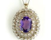Antique Amethyst & Diamond Pendant - Birthstone for February
