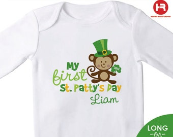 baby's first st patrick's day bodysuit or shirt - personalized MONKEY new baby gift - Personalized st. patrick's day Outfit