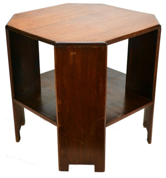 Art Deco Oak Octagonal Book Or Coffee Table Vintage English