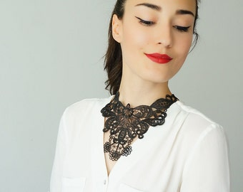 40%OFF Off Black Necklace Venise Lace Necklace Lace Jewelry Bib Necklace Statement Necklace Body Jewelry / ARMO
