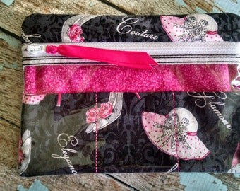 """Zippered Case,  Black with Shoes & Hats fabric, 4.75"""" x 6.5"""""""