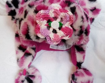Baby Girls Infant Toddler Pink Cheetah Trapper Faux Fur Fleece Hat - Handmade Rose - Sizes: 6-12 months, 12-24 months, 2-4 years