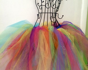 Mixed Multicolored Rainbow Organza and Tulle Fairy Costume Tutu Skirt