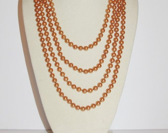 Joan Rivers Pearl Necklace - 100 Inches Faux Pearl Necklace -Toffee Color             - S1048