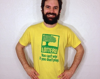 CT Lottery You Can't Win If You Don't Play Funny Connecticut T Shirt XL 1980s