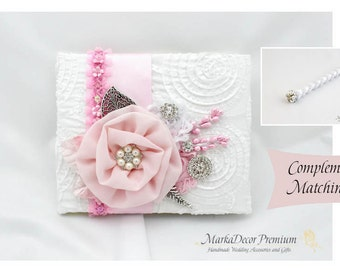 READY TO SHIP Wedding Lace Guest Book Pen Set Custom Jeweled Bridal Flower Brooch Guest Books Beaded Birthday Guest Book in White and Pink