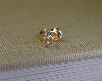 Diamond Stud Earrings (14K Yellow Gold)